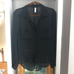 Sheer Black Button-Down Blouse
